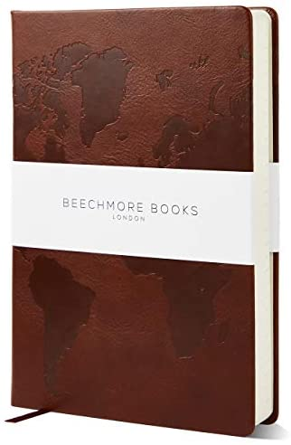 Travel Planner by Beechmore Books of London | Large 5.75″ x 8.25″ | Vegan Leather Hardcover Notebook with Travel Checklists and 8 Trip Sections | Thick 120gsm Lined Paper | Gift Box | Chestnut Brown