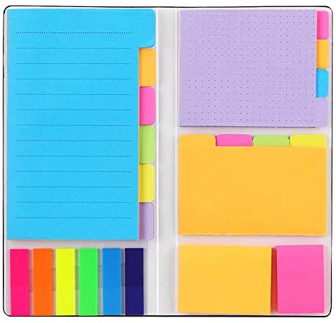 Sticky Notes Set, Hommie Colored Divider Self-Stick Notes Pads Bundle, Prioritize with Color Coding, 60 Ruled (3.7×6), 48 Dotted (3.7×3), 48 Blank (3×3.7), 48 Per Rectangular, 25 Per PET Color