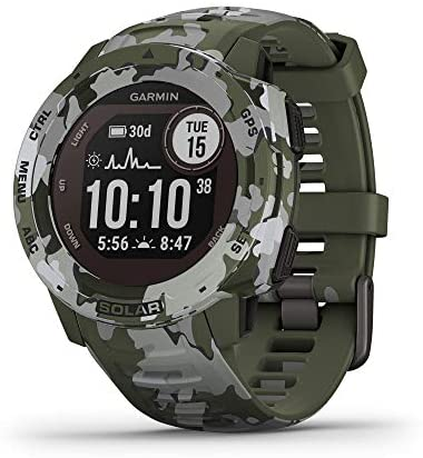 Garmin Instinct Solar, Rugged Outdoor Smartwatch with Solar Charging Capabilities, Built-in Sports Apps and Health Monitoring, Lichen Camo