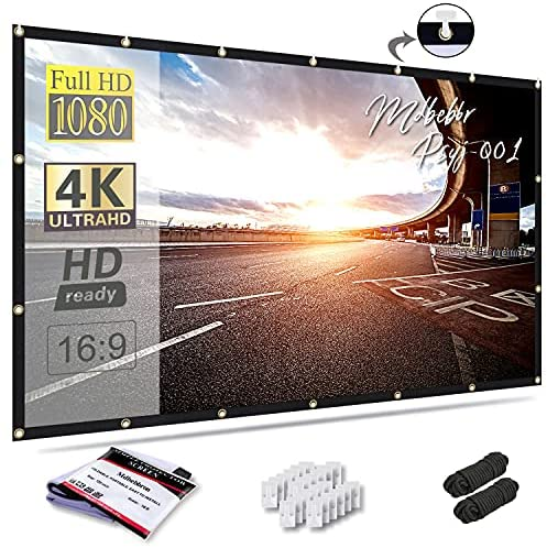 Mdbebbron 120 inch Projection Screen 16:9 Foldable Anti-Crease Portable Projector Movies Screen for Home Theater Outdoor Indoor Support Double Sided Projection
