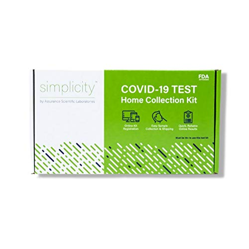 simplicity by Assurance Scientific Laboratories COVID-19 PCR Home Testing Kit – No Prescription Required, FDA Authorized, Pre-Paid Return Shipping for Quick COVID Test Results (Single)
