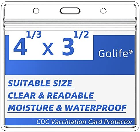 5 Pack-CDC Vaccination Card Protector 4X3 in Immunization Record Vaccine Card Holder Horizontal Badge I'd Name Tags Clear PVC Sleeve Waterproof Type Resealable Zip w 3 Lanyard Slots for Events Travel